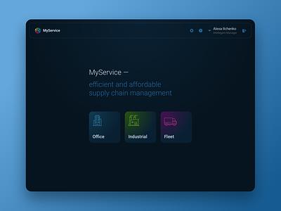 MyService App thin icons service dark blue indigo dark theme dark color dashboard main page dark ui dark mode