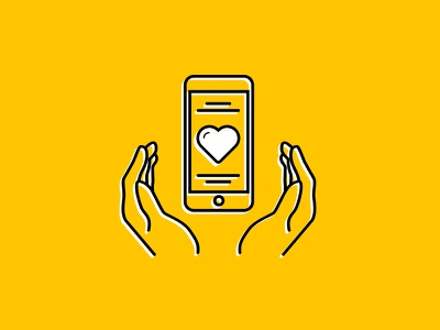 Icon phone in hand orange icon mobile iphone hand