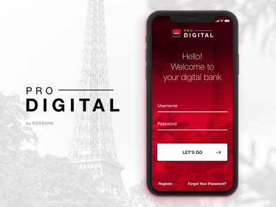 Rosbank Digital Pro black red iphonex sign in login mobile app societe generale rosbank