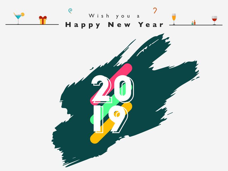Happy New Year - 2019 colorful design brush bash party celebration 2019 new year 2019 happy new year new year ux typography vector illustration design banner ui creative