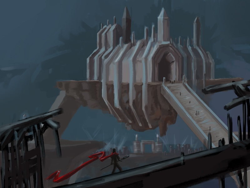View From A Bridge concept art fantasy digital painting