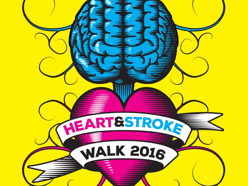 Heart & Stroke Walk Logo design print cmyk heart brain illustration logo