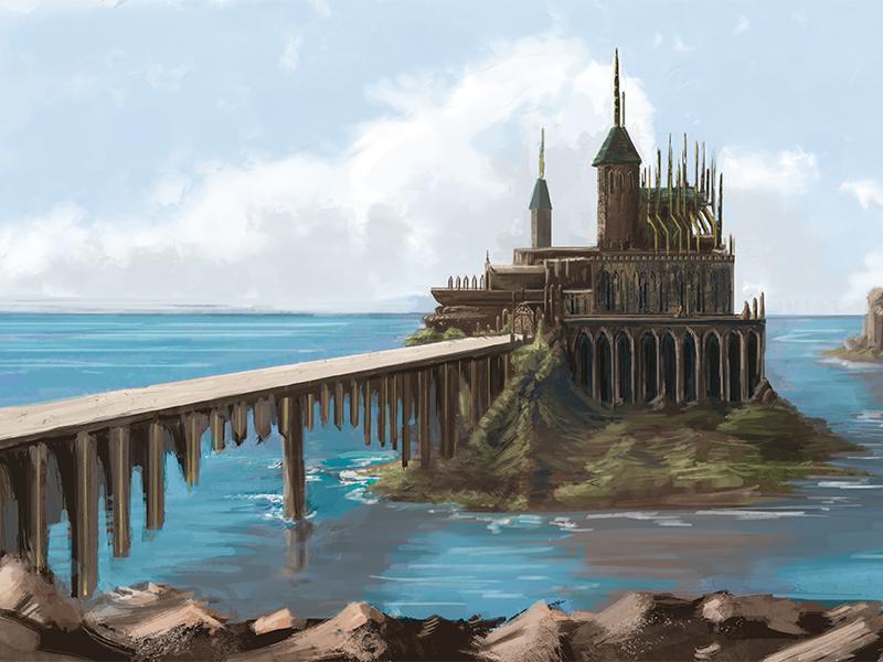 Castle Island conceptart art concept fantasy painting digital landscape seascape island town castle