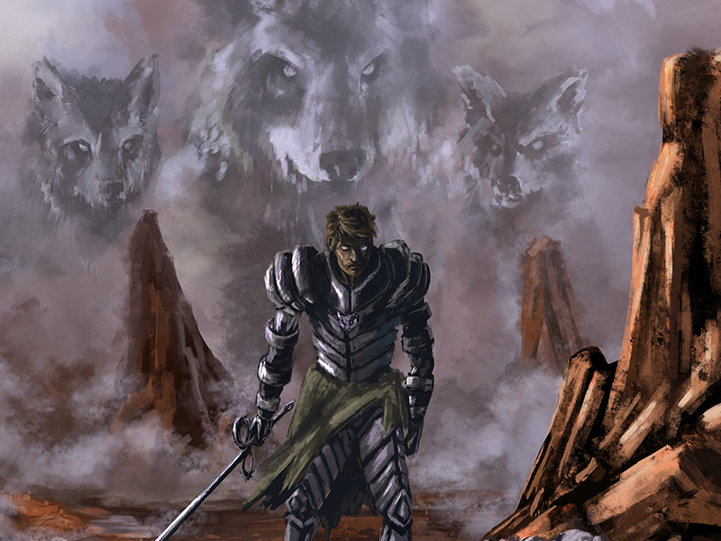 Wolf Council concept landscape rocks art digital painting warrior knight sword wolves wolf