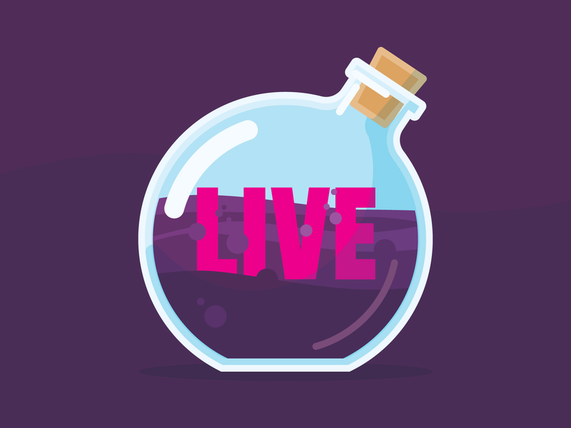 Potion Patch symbol fantasy design icon glass purple live bottle patch potion