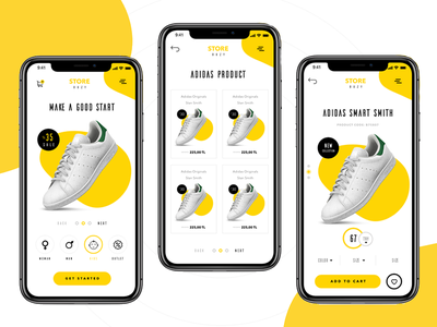 Adidas E-Commerce Cart - Shop Mobile UI ui design mobile design design yellow design eticaret shop mobile ui mobile ui shop cart e-commerce ecommerce adidas
