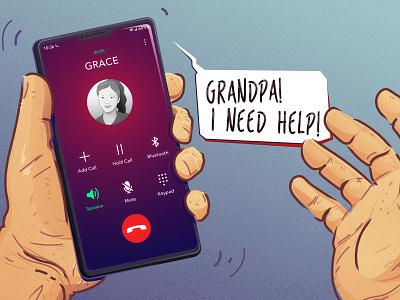 Grandpa! I Need Help! hands cellphone editorial illustration editorial photoshop illustration illustrator