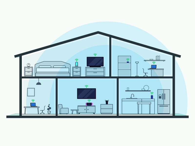 Wifi Range At Home house floorplan icons wifi range wifi home vector illustration illustrator
