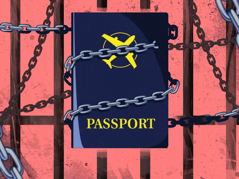 Passport chained locked chains jail passport illustration illustrator
