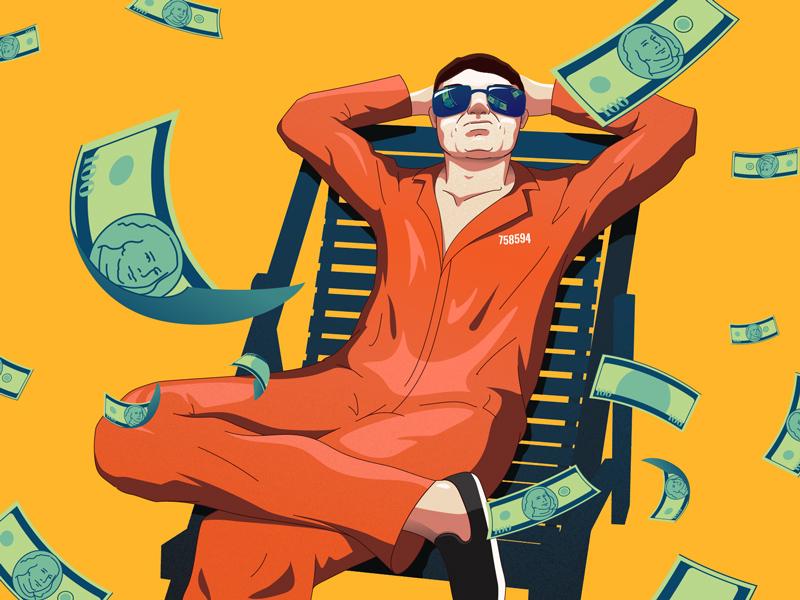 Falling Bens illustration relaxing illustrator prisoner money