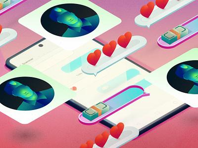 Military Romance Scam phone text message hearts scam romance vector illustration illustrator