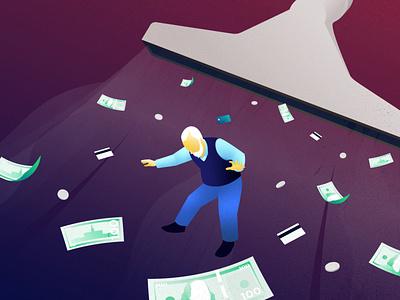 Stolen Savings podcast art editorial money savings elderly photoshop illustration illustrator