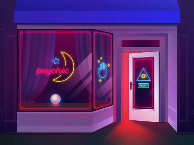 Psychic Storefront glow store neon photoshop psychic illustration illustrator