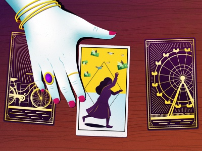 The Perfect Scam -  Boardwalk Psychic editorial illustration grain wood tarot cards psychic digital art vector illustration illustrator