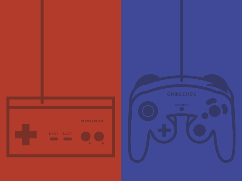 Nintendo Controllers icons video games thick lines illustration