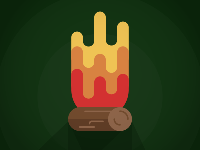 Fire Vibes fire illustration simple cartoon shapes illustrator camping