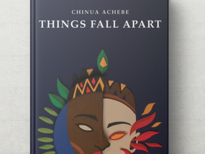 Things Fall Apart - Chinua Achebe book cover design handmade paper craft