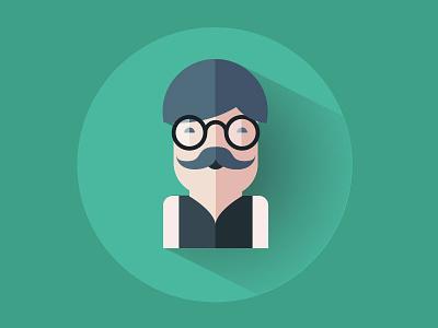 Upgrade Me Illustrations illustration digital green sir moustache waistcoat specs