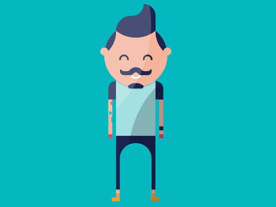myCowo Infographic Illustrations rome infographic flat coworking moustache character hipster tatoo