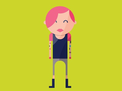 myCowo Infographic Illustrations rome infographic flat character coworking tatoo girl pink punk