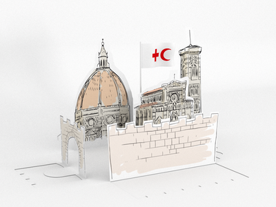 Red Cross   9TH European Regional Conference unemployment poverty migration flag leafs motion italy duomo florence red cross