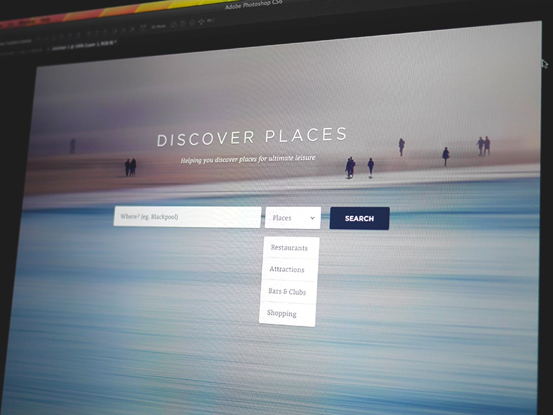 Discover Places Landing Page website landing page minimal photo background big clean