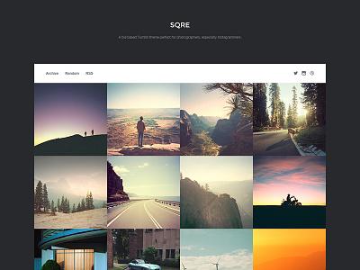 SQRE tumblr theme web design photography tile grid minimal instagram
