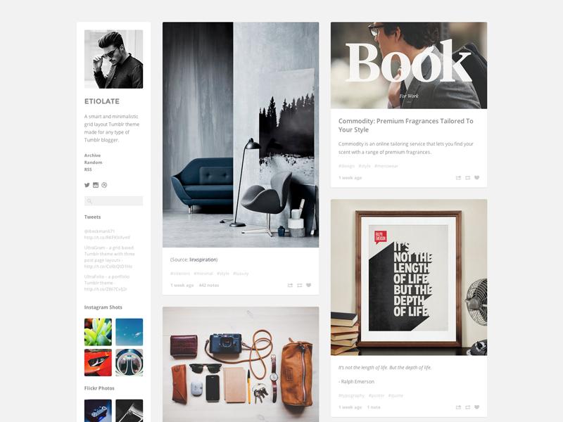 Etiolate Tumblr Theme minimal clean tumblr theme web design ultralinx