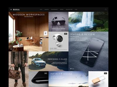 Manual Magazine/Blog Content Layout wordpress magazine blog classy minimal portfolio app website flat ui masonry grid