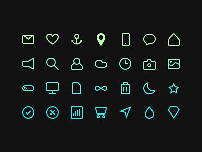 Icon Set - Free Download - Sketch icons icon free minimal ios download sketch dark black color