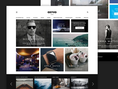 Magazine Template website flat portfolio wordpress masonry app grid ui blog web magazine minimal