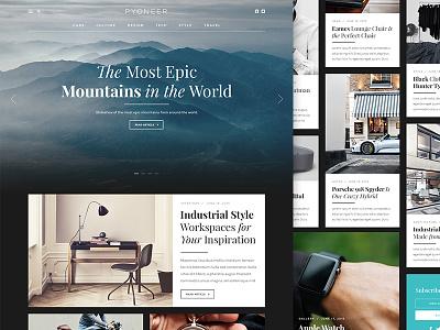 Pyoneer Blog/Magazine Layout website flat portfolio magazine masonry app minimal ui grid wordpress