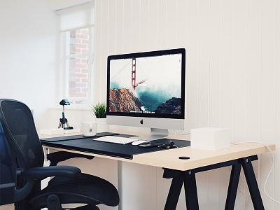 Summer 2015 Studio Setup macbook imac ikea studio minimalistic minimalism apple mac minimal office workspace