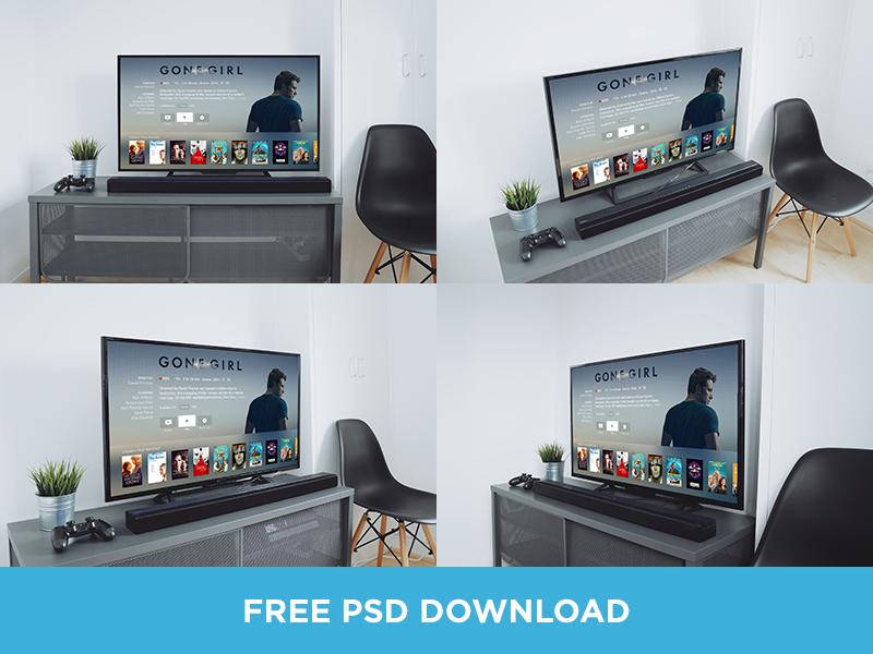 TV Mockups PSD Download free download psd photography interior clean minimal apple tv up mock mockup