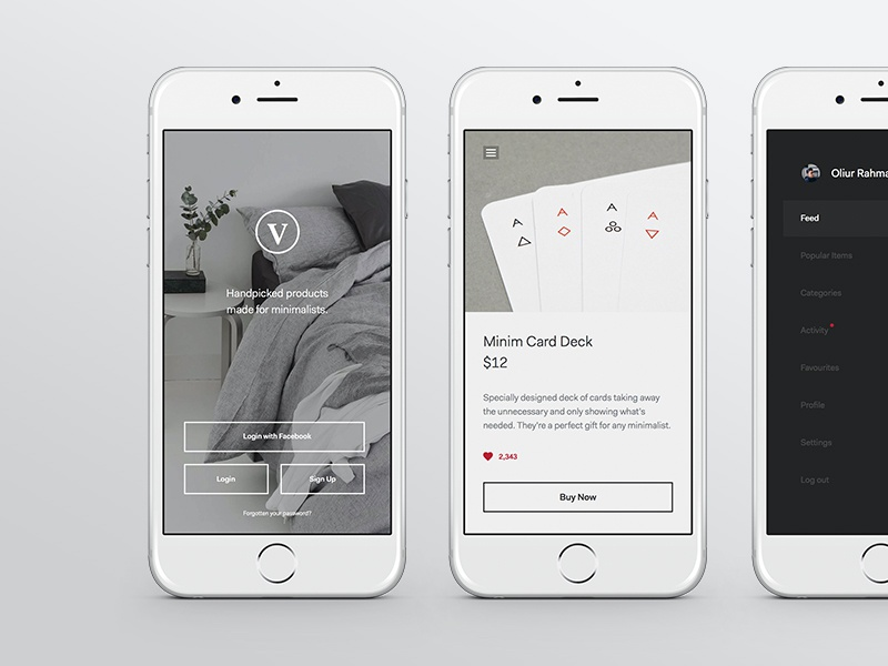 Minimal Product App clean minimal ux shopping shop ui iphone app commerce portfolio blog