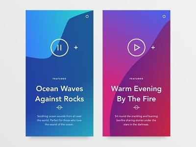 Music Cards mobile app gradient minimal grid blog portfolio