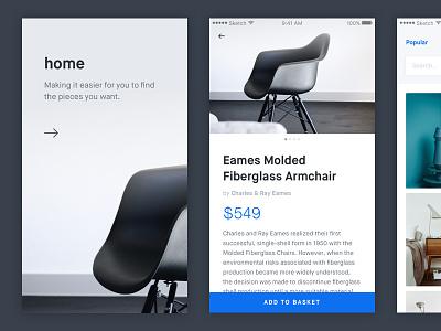 Furniture App Exploration flat clean minimalist grid blog portfolio ui ux mobile minimal ios app