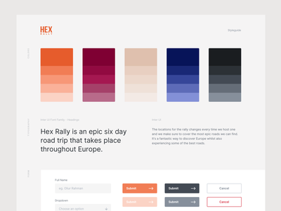 Hex Rally Styleguide minimal colors ux ui styleguide