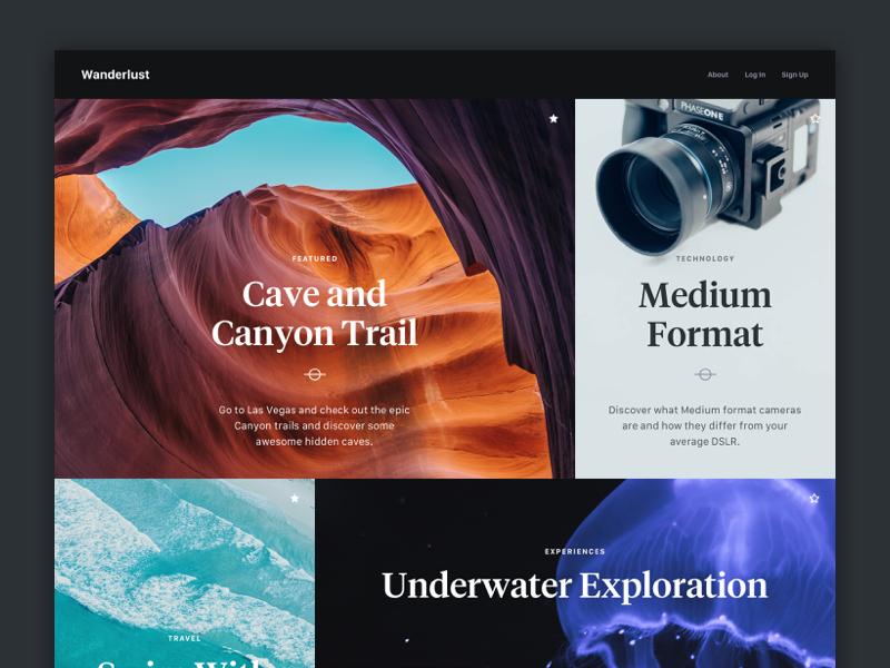 Wanderlust Magazine Layout typography ux ui grid portfolio magazine blog