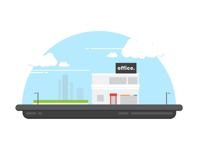 Office Snowball design icon illustration building town