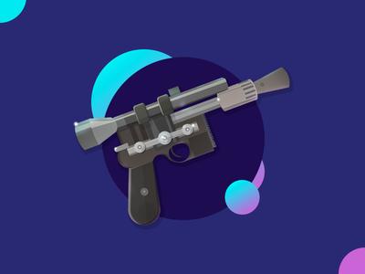Han solo - Blaster starwars han solo tool design movie gradient icon weapon gun illustration star wars