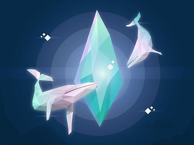 The Ocean Crystal illustration animal whale diamond web website design dribbble