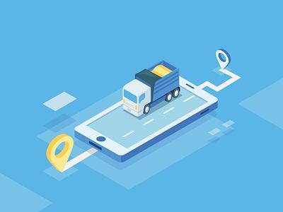 """Truck Track"" Transport APP car truck transport illustrator isometric lottery illustration"