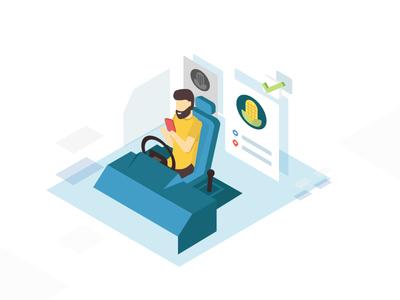 """""""Driver for Truck"""" car truck transport illustrator isometric app illustration"""
