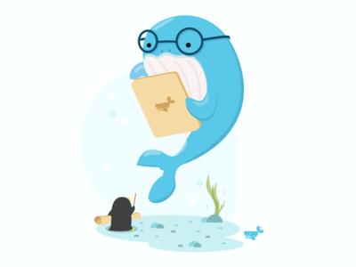 Whaledone Present cute penguin whale branding vector illustrator illustration design