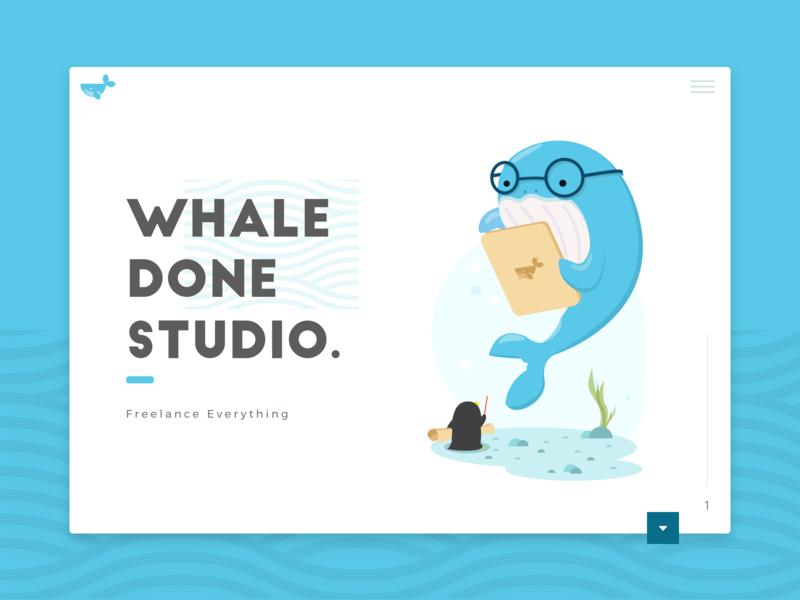 Whaledone Studio Website ! whale logo illustration typography branding web design website web design