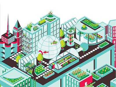 Green City isometric vector illustration
