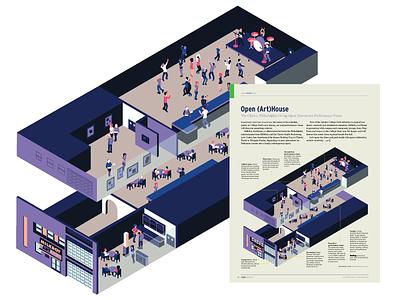 Open Arthouse isometric vector illustration