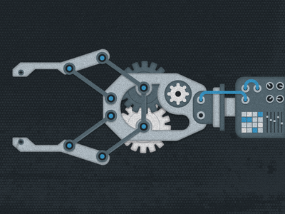 Robotic robotics robot geometric vector illustration