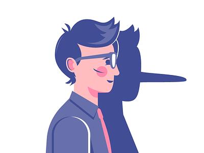 Trust Me lying liar pinocchio character vector illustration